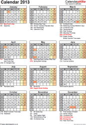 Template 12: Yearly calendar 2013 as PDF template, portrait orientation, one A4 page, with list of notable days