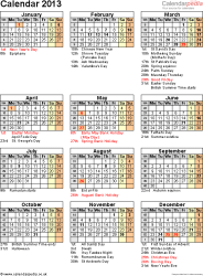 Download Template 12: Yearly calendar 2013 as Word template, portrait orientation, one A4 page, with list of notable days