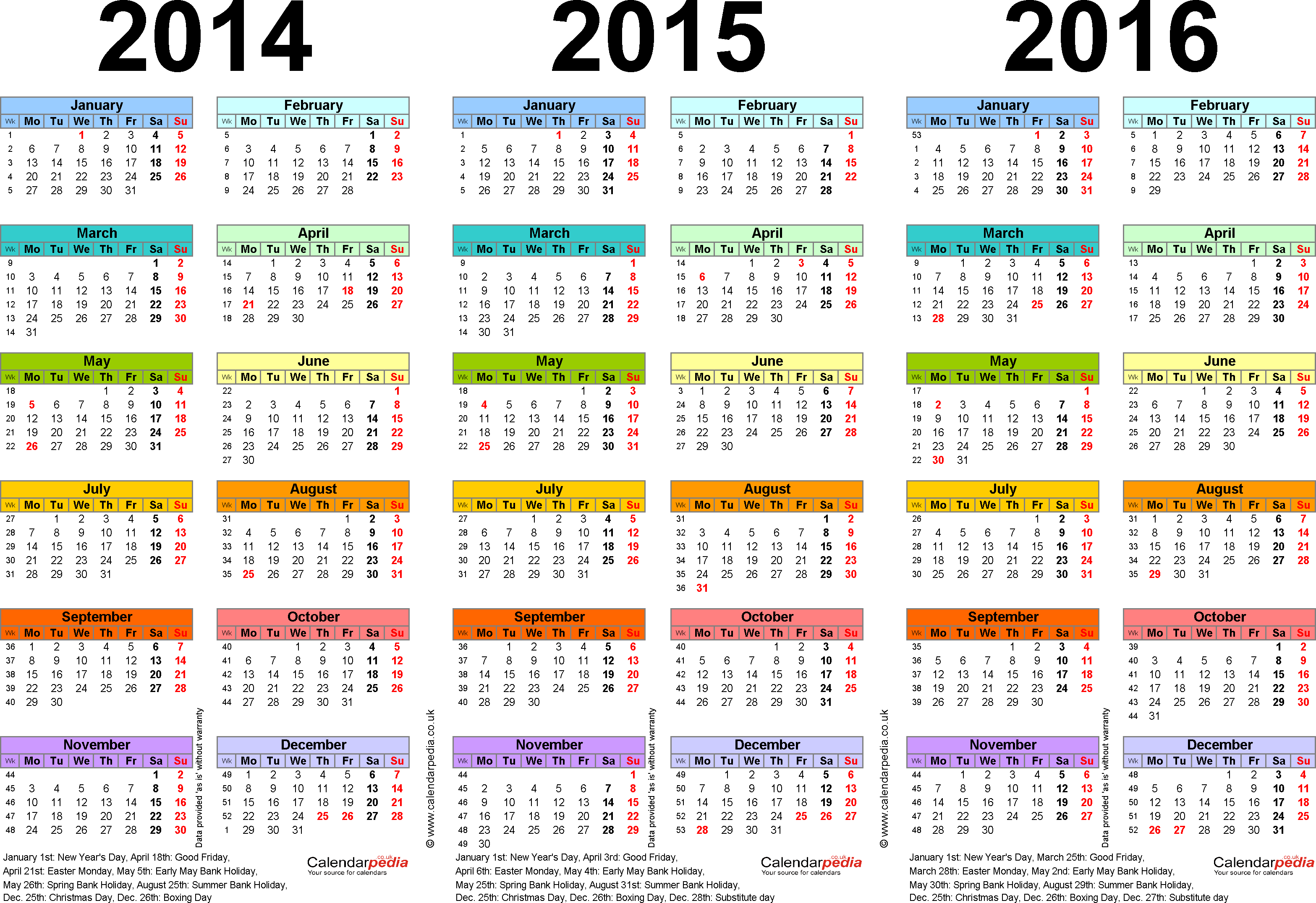 Three year calendars for 2014, 2015 & 2016 (UK) for PDF