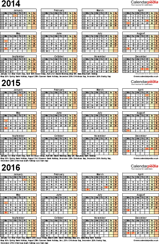 Template 6: Excel template for three year calendar 2014/2015/2016 (portrait orientation, 1 page, A4)
