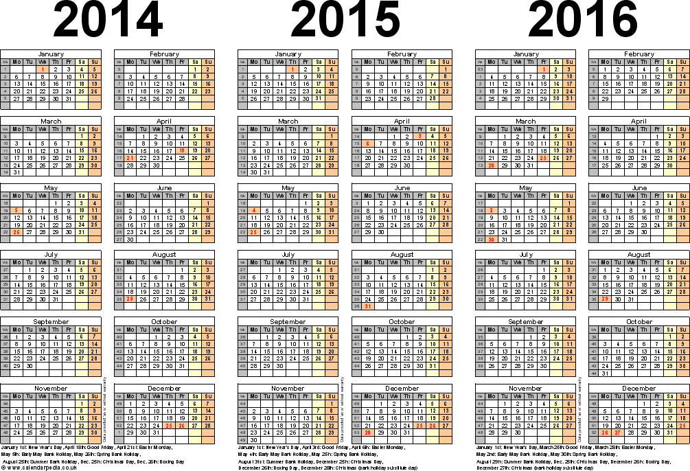 Template 5: Excel template for three year calendar 2014/2015/2016 (landscape orientation, 1 page, A4)