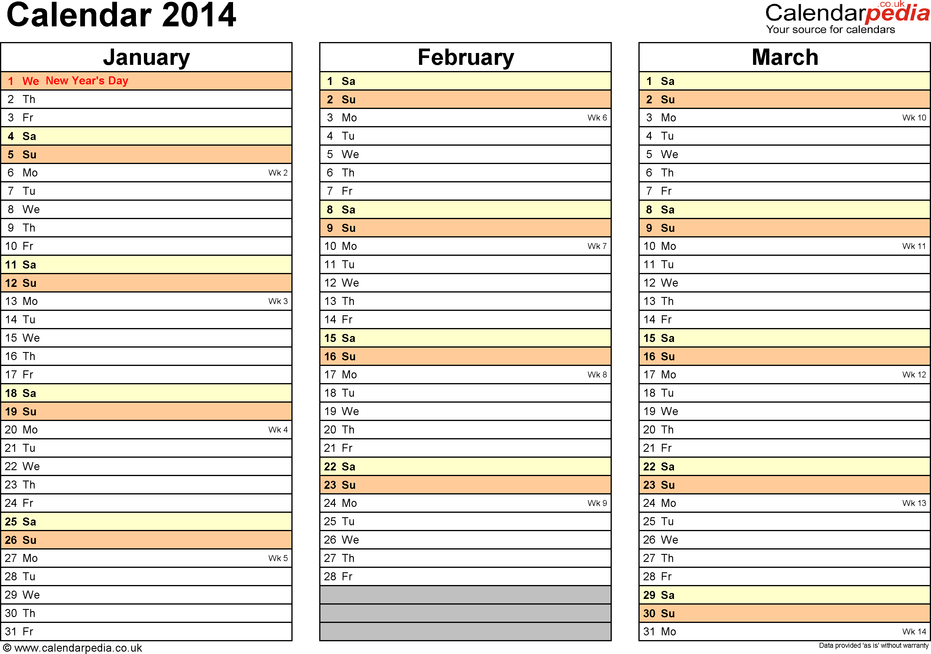 Template 6: Yearly calendar 2014 as Excel template, landscape orientation, 4 pages, months horizontally, days vertically, with UK bank holidays and week numbers