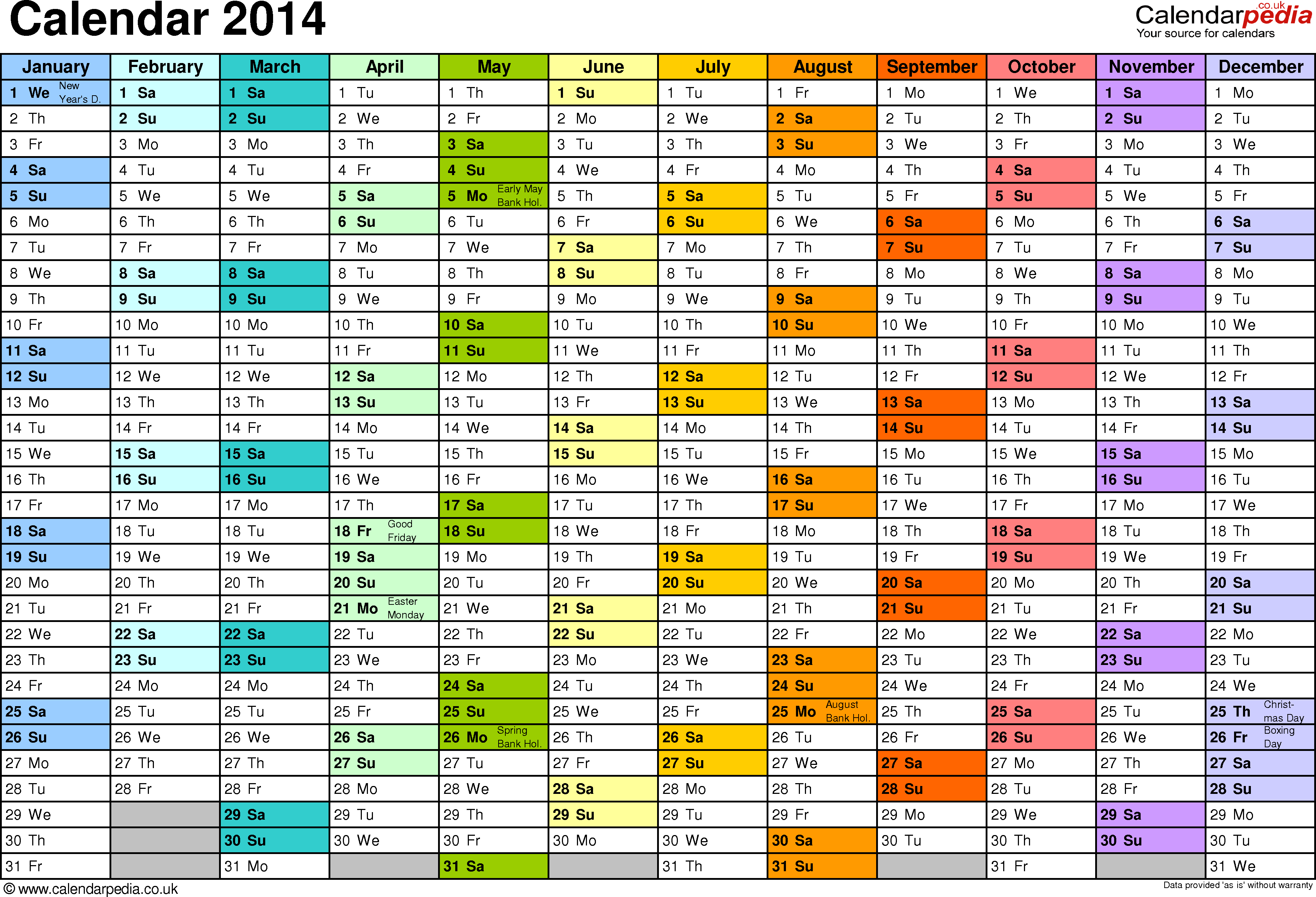 Template 2: Yearly calendar 2014 as Excel template, landscape orientation, A4, 1 page, months horizontally, days vertically, in colour, with UK bank holidays and week numbers