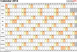 Template 3: Yearly calendar 2014 as Excel template, landscape orientation, 1 page, days horizontally, months vertically, with UK bank holidays and week numbers