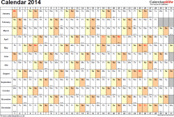 Template 6: Yearly calendar 2014 as PDF template, landscape orientation, 1 page, days horizontally, months vertically, with UK bank holidays and week numbers