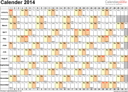 Template 6: Yearly calendar 2014 as Word template, landscape orientation, 1 page, days horizontally, months vertically, with UK bank holidays and week numbers