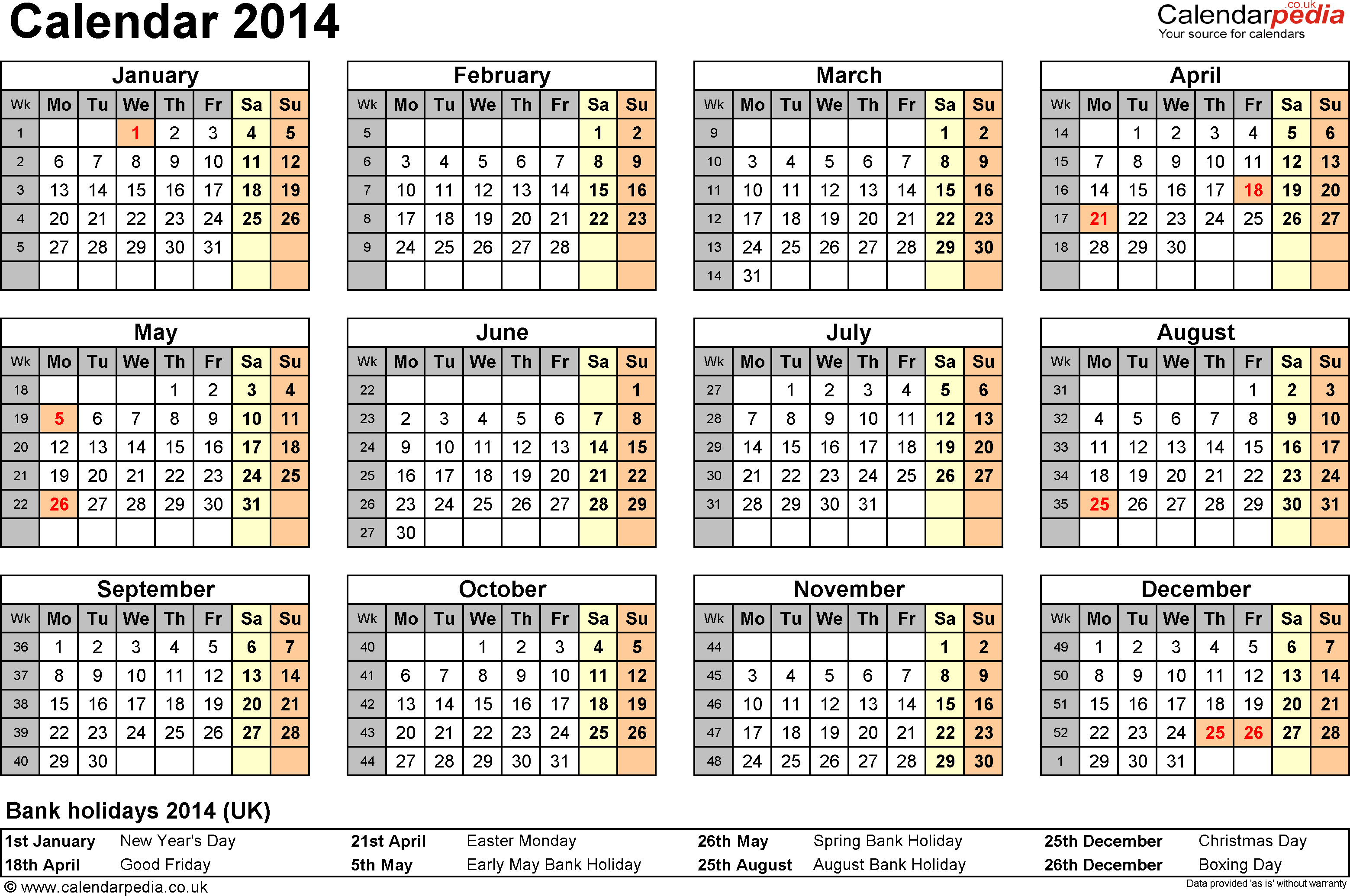 Template 8: Yearly calendar 2014 as PDF template, year overview, 1 page