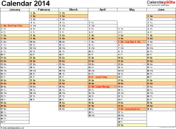 Template 5: Yearly calendar 2014 as Excel template, landscape orientation, A4, 2 pages, months horizontally, days vertically, days of the week in line, with UK bank holidays and week numbers