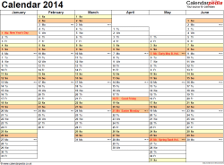 Template 5: Yearly calendar 2014 as PDF template, landscape orientation, A4, 2 pages, months horizontally, days vertically, days of the week in line, with UK bank holidays and week numbers
