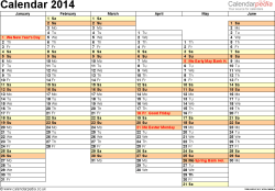Template 4: Yearly calendar 2014 as Word template, landscape orientation, A4, 2 pages, months horizontally, days vertically, days of the week in line, with UK bank holidays and week numbers