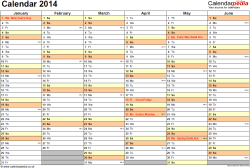 Download Template 3: Yearly calendar 2014 as PDF template, landscape orientation, 2 pages, months horizontally, days vertically, with UK bank holidays and week numbers