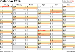 Template 3: Yearly calendar 2014 as Word template, landscape orientation, 2 pages, months horizontally, days vertically, with UK bank holidays and week numbers