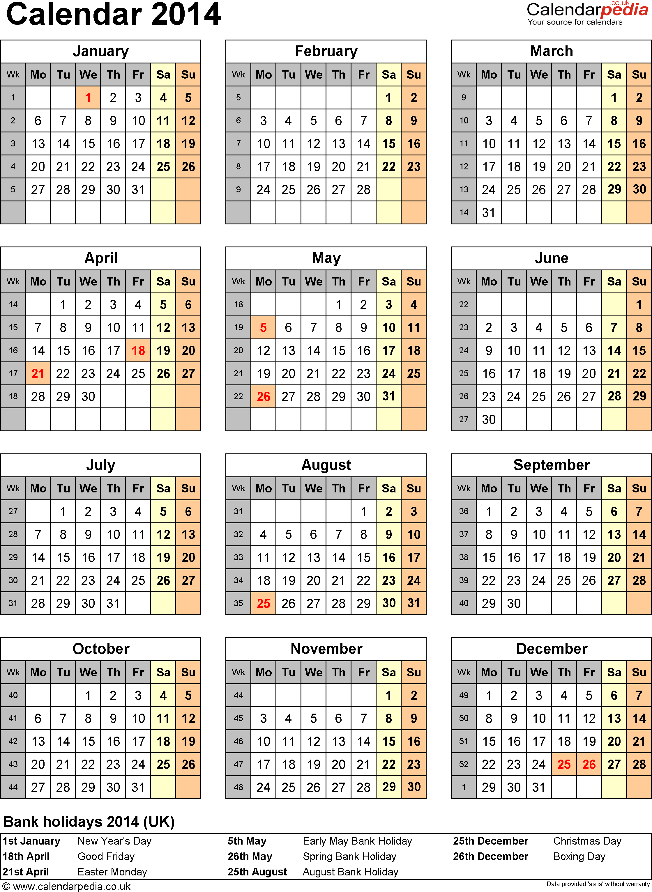 Template 11: Yearly calendar 2014 as Excel template, portrait orientation, 1 A4 page
