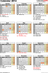 Template 12: Yearly calendar 2014 as Excel template, portrait orientation, 1 A4 page, with list of notable days