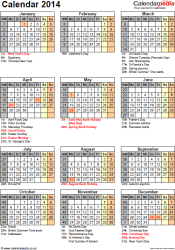 Download Template 15: Yearly calendar 2014 as PDF template, portrait orientation, one A4 page, with list of notable days