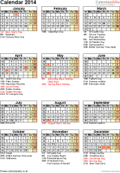 Template 12: Yearly calendar 2014 as Word template, portrait orientation, one A4 page, with list of notable days