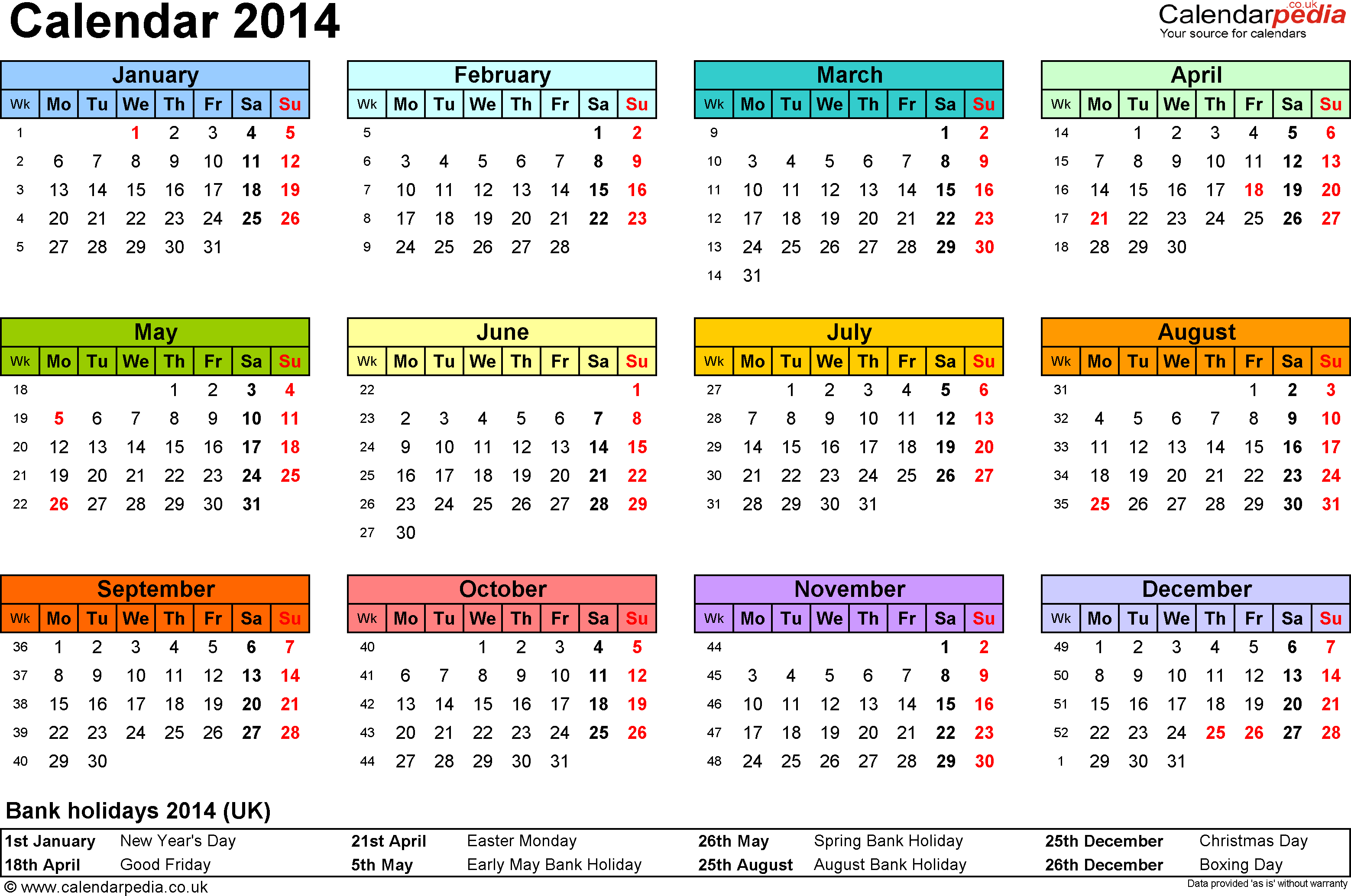 Template 7: Yearly calendar 2014 as PDF template, landscape orientation, year overview in colour, 1 page