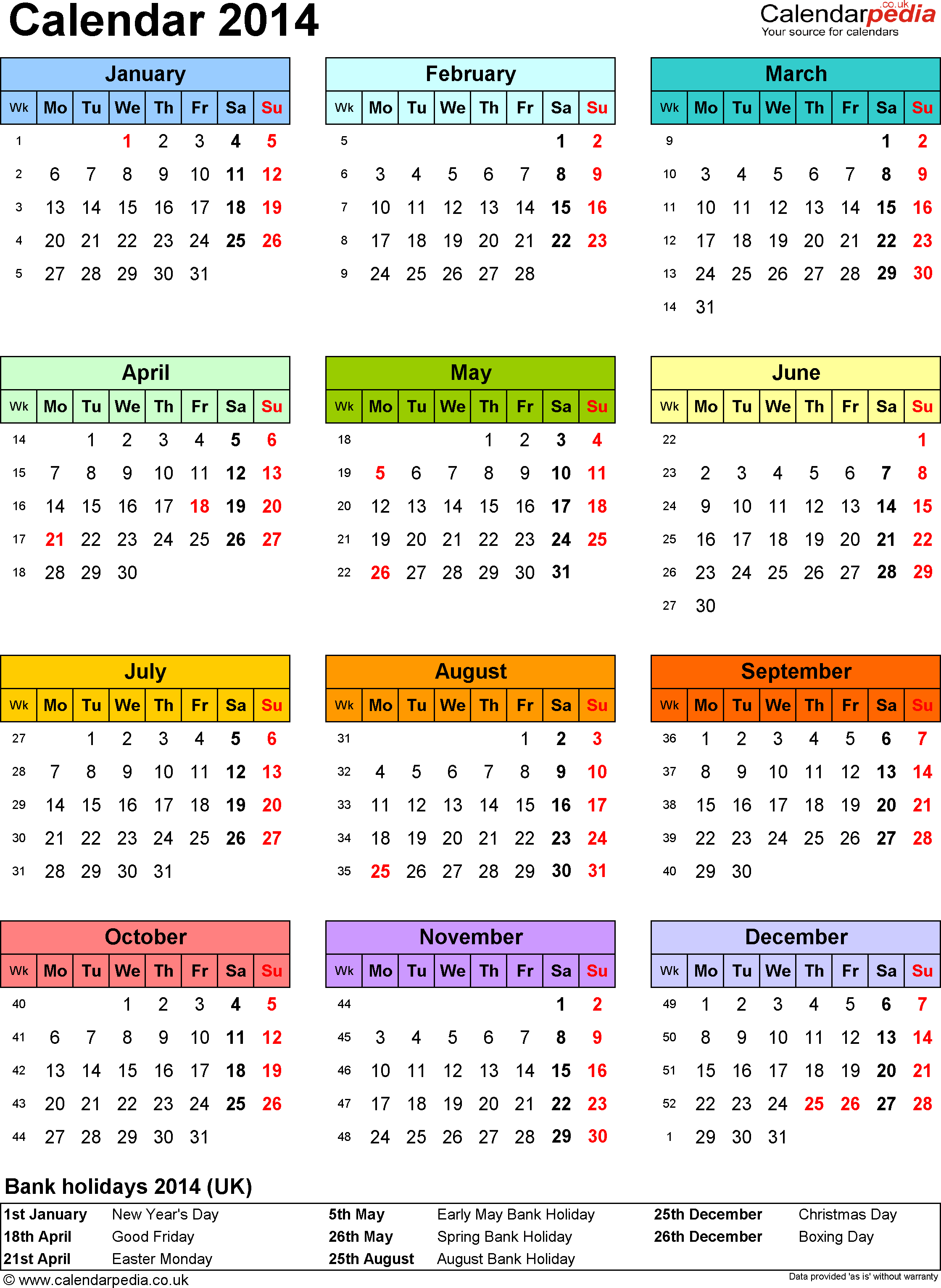 Template 9: Yearly calendar 2014 as PDF template, year overview in colour, one A4 page