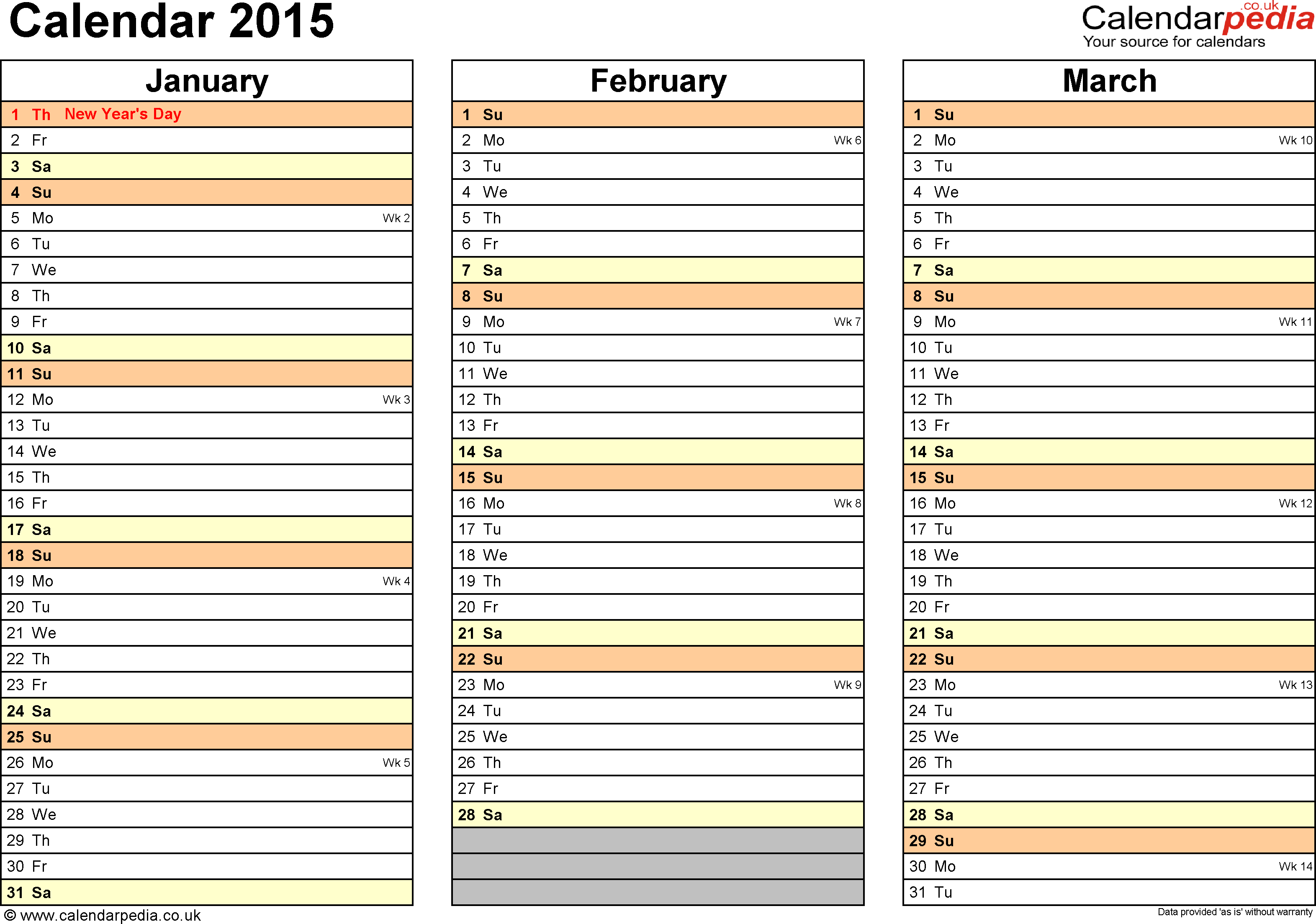 Download Template 5: Yearly calendar 2015 as Excel template, landscape orientation, 4 pages, months horizontally, days vertically, with UK bank holidays and week numbers