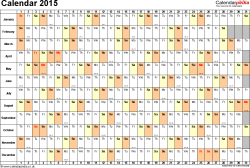 Template 6: Yearly calendar 2015 as Excel template, landscape orientation, 1 page, days horizontally, months vertically, with UK bank holidays and week numbers