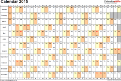 Template 6: Yearly calendar 2015 as PDF template, landscape orientation, 1 page, days horizontally, months vertically, with UK bank holidays and week numbers