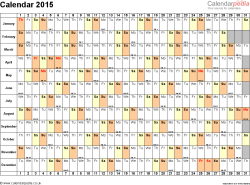 Template 6: Yearly calendar 2015 as Word template, landscape orientation, 1 page, days horizontally, months vertically, with UK bank holidays and week numbers