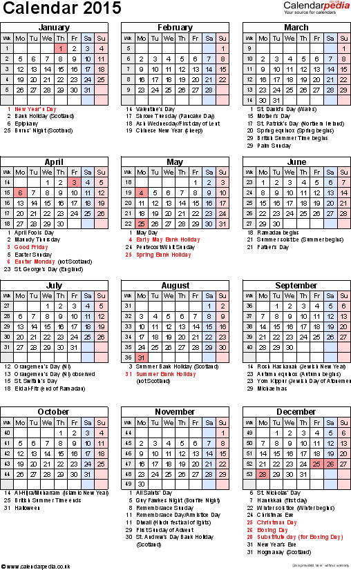 Template 16: Yearly calendar 2015 as PDF template, portrait orientation, 1 page, with UK bank holidays, observances, festivals and celebrations