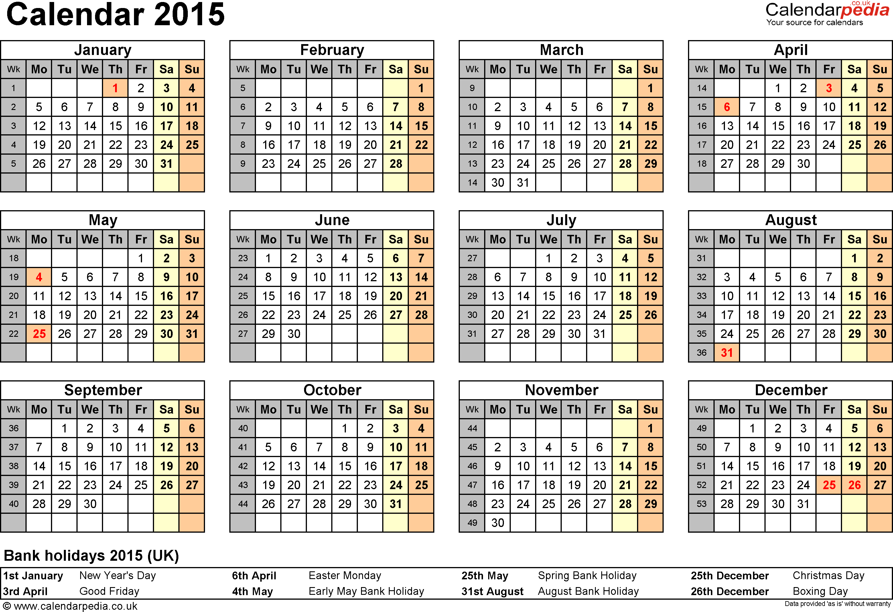 Template 8: Yearly calendar 2015 as PDF template, year overview, 1 page