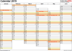 Download Template 4: Yearly calendar 2015 as PDF template, landscape orientation, A4, 2 pages, months horizontally, days vertically, days of the week in line, with UK bank holidays and week numbers