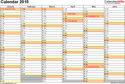 Download Template 3: Yearly calendar 2015 as Excel template, landscape orientation, 2 pages, months horizontally, days vertically, with UK bank holidays and week numbers