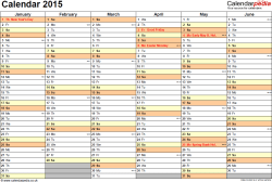 Template 3: Yearly calendar 2015 as PDF template, landscape orientation, 2 pages, months horizontally, days vertically, with UK bank holidays and week numbers
