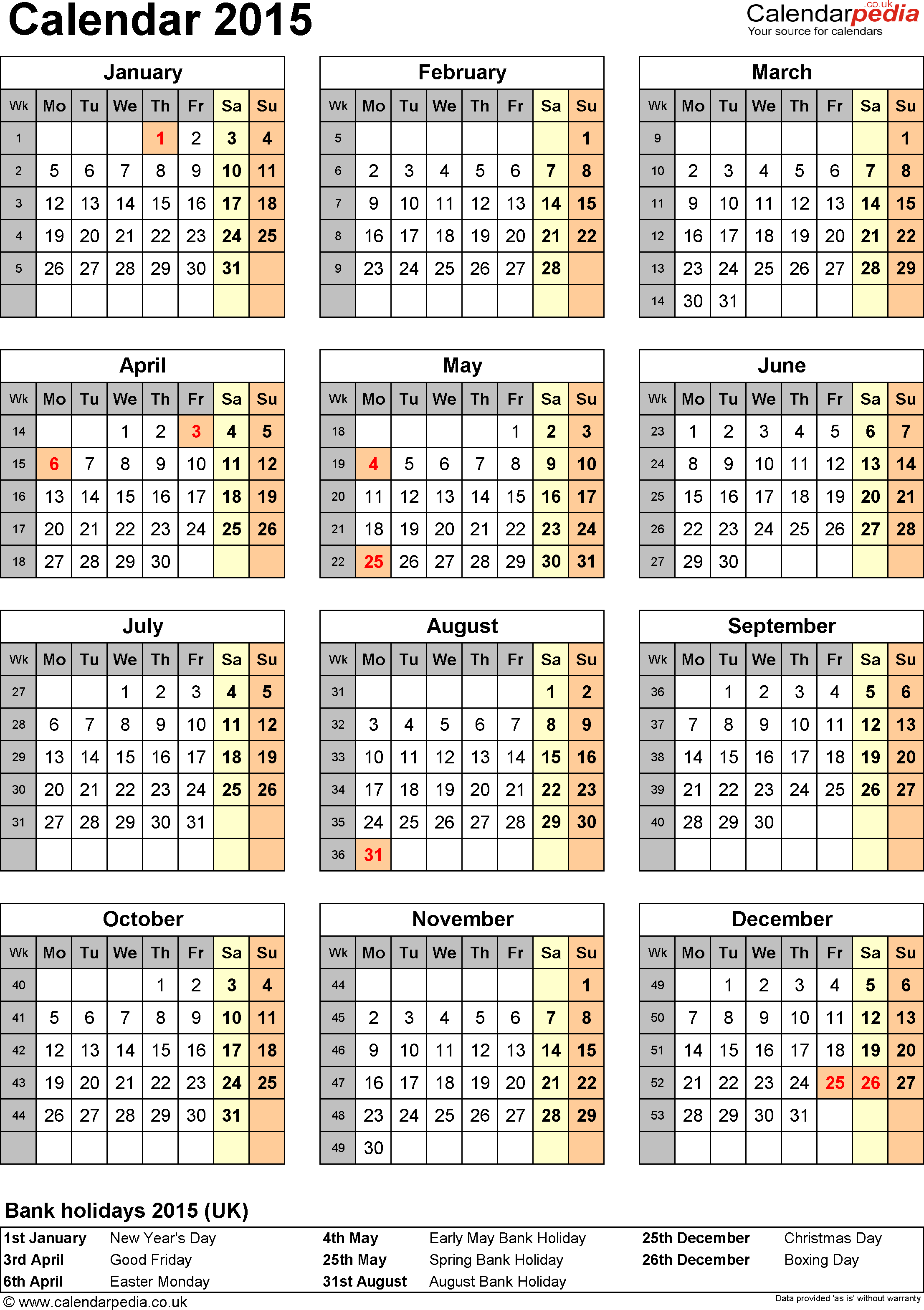 Template 10: Yearly calendar 2015 as Word template, portrait orientation, one A4 page