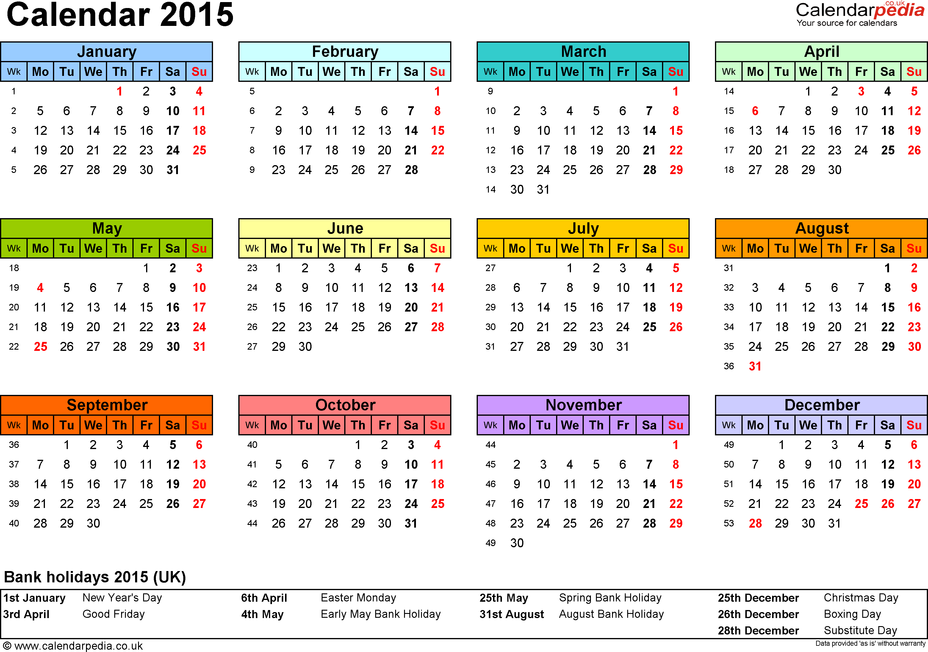 Template 7: Yearly calendar 2015 as PDF template, landscape orientation, year overview in colour, 1 page