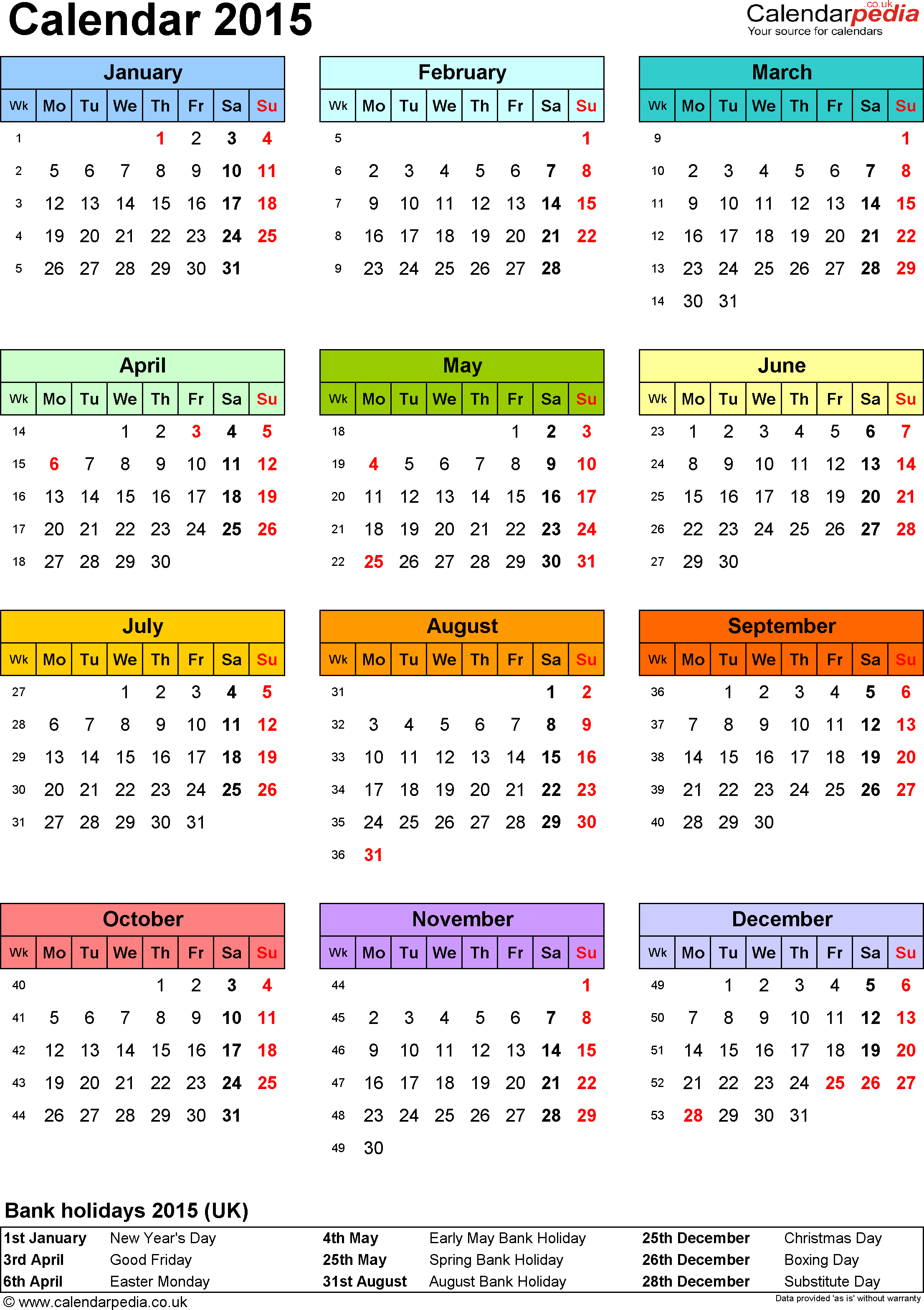 Template 9: Yearly calendar 2015 as PDF template, portrait orientation, year overview in colour, one A4 page