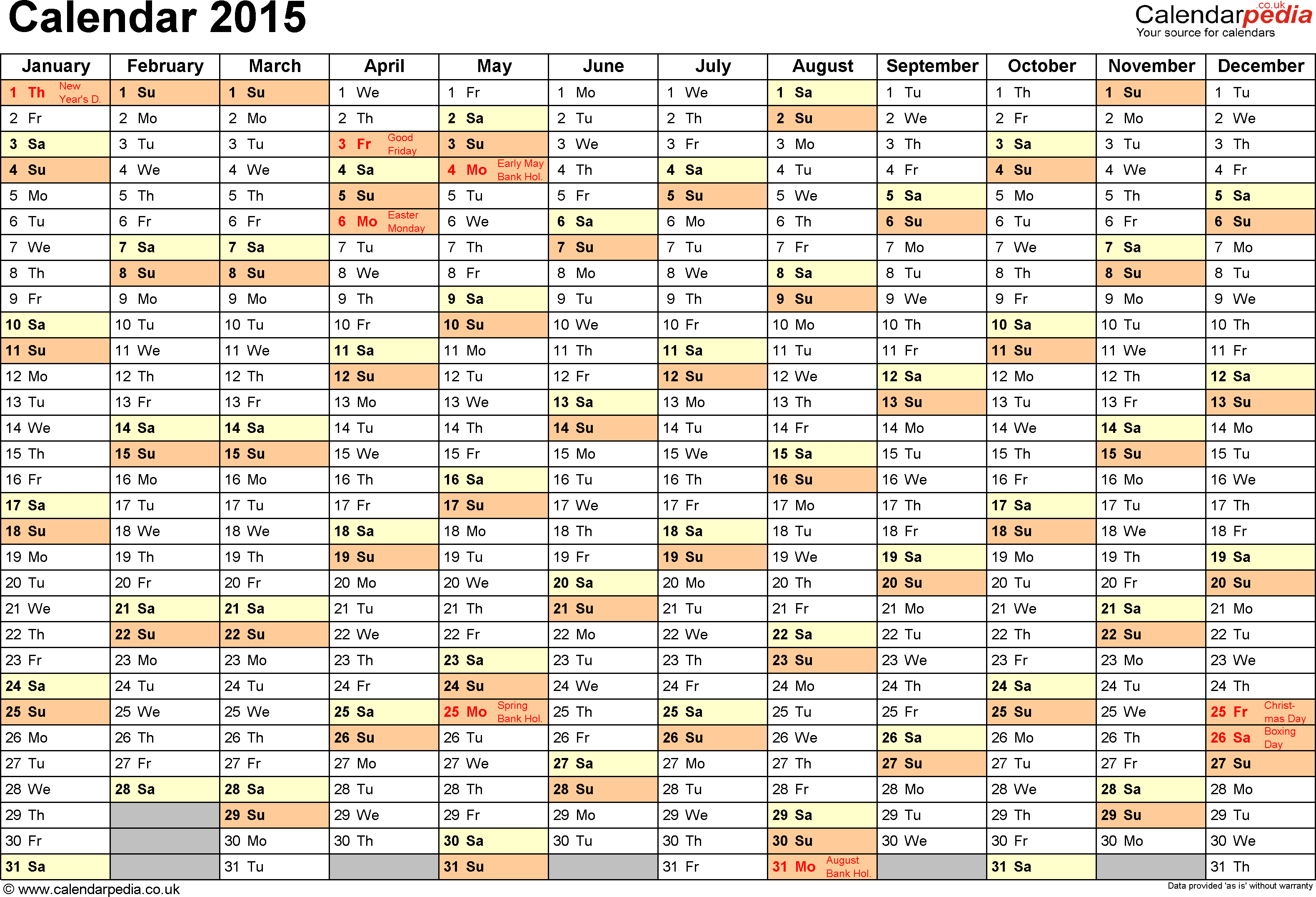 Template 2: Yearly calendar 2015 as Excel template, landscape orientation, A4, 1 page, months horizontally, days vertically, with UK bank holidays and week numbers