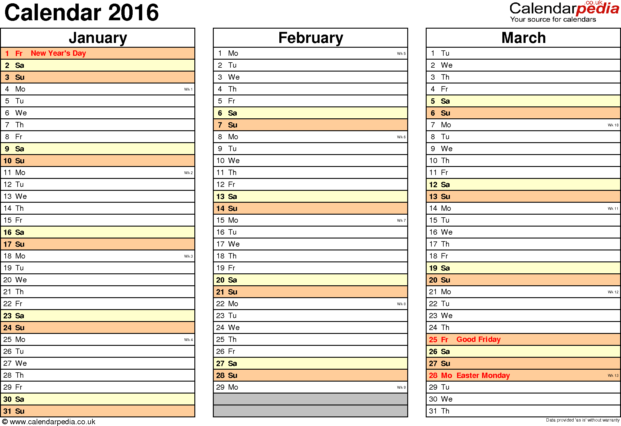 Template 5: Yearly calendar 2016 as Excel template, landscape orientation, 4 pages, months horizontally, days vertically, with UK bank holidays and week numbers