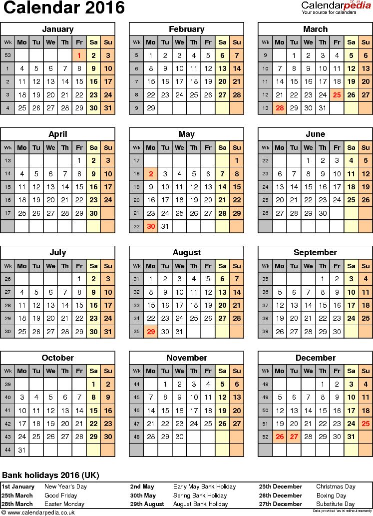 Template 10: Yearly calendar 2016 as Word template, portrait orientation, one A4 page