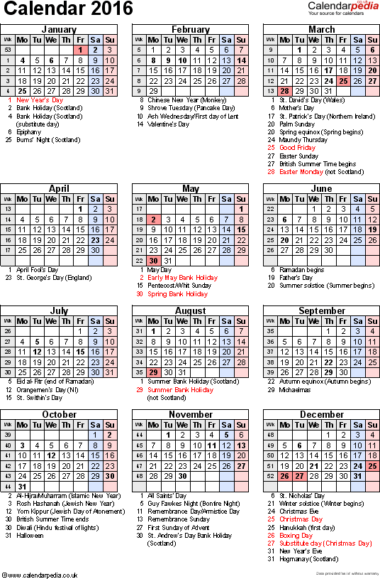 Template 16: Yearly calendar 2016 as Excel template, portrait orientation, 1 page, with UK bank holidays, observances, festivals and celebrations