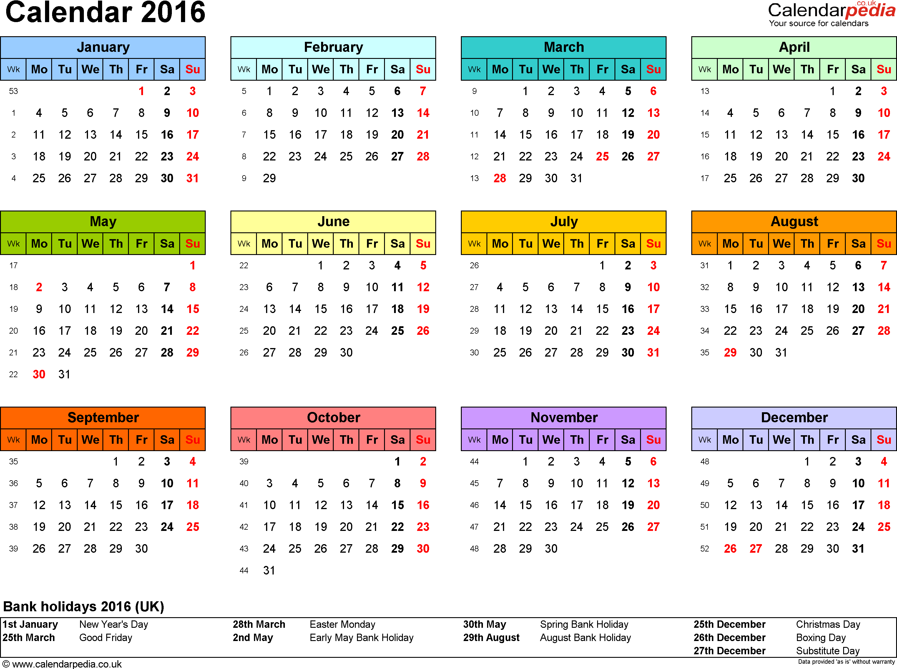 Template 7: Yearly calendar 2016 as PDF template, landscape orientation, year overview in colour, 1 page