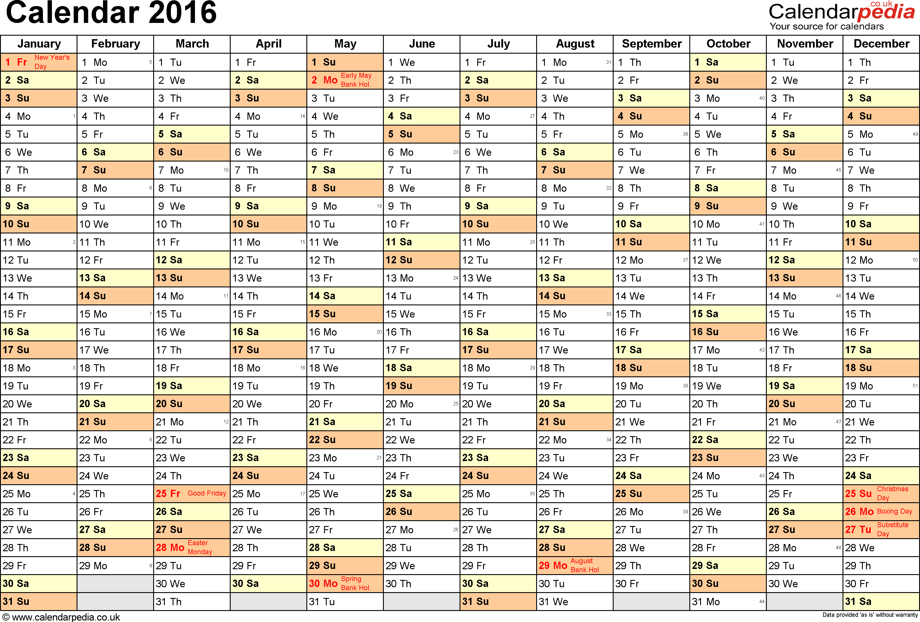 2016 Calendar Weeks Numbered Spreadsheet | Calendar Template 2016
