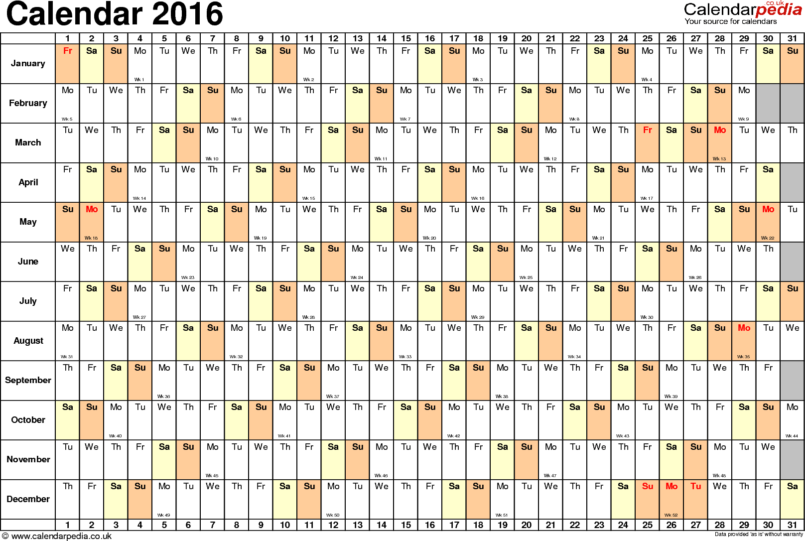 Template 6: Yearly calendar 2016 as Excel template, landscape orientation, 1 page, linear (days horizontally, months vertically), with UK bank holidays and week numbers