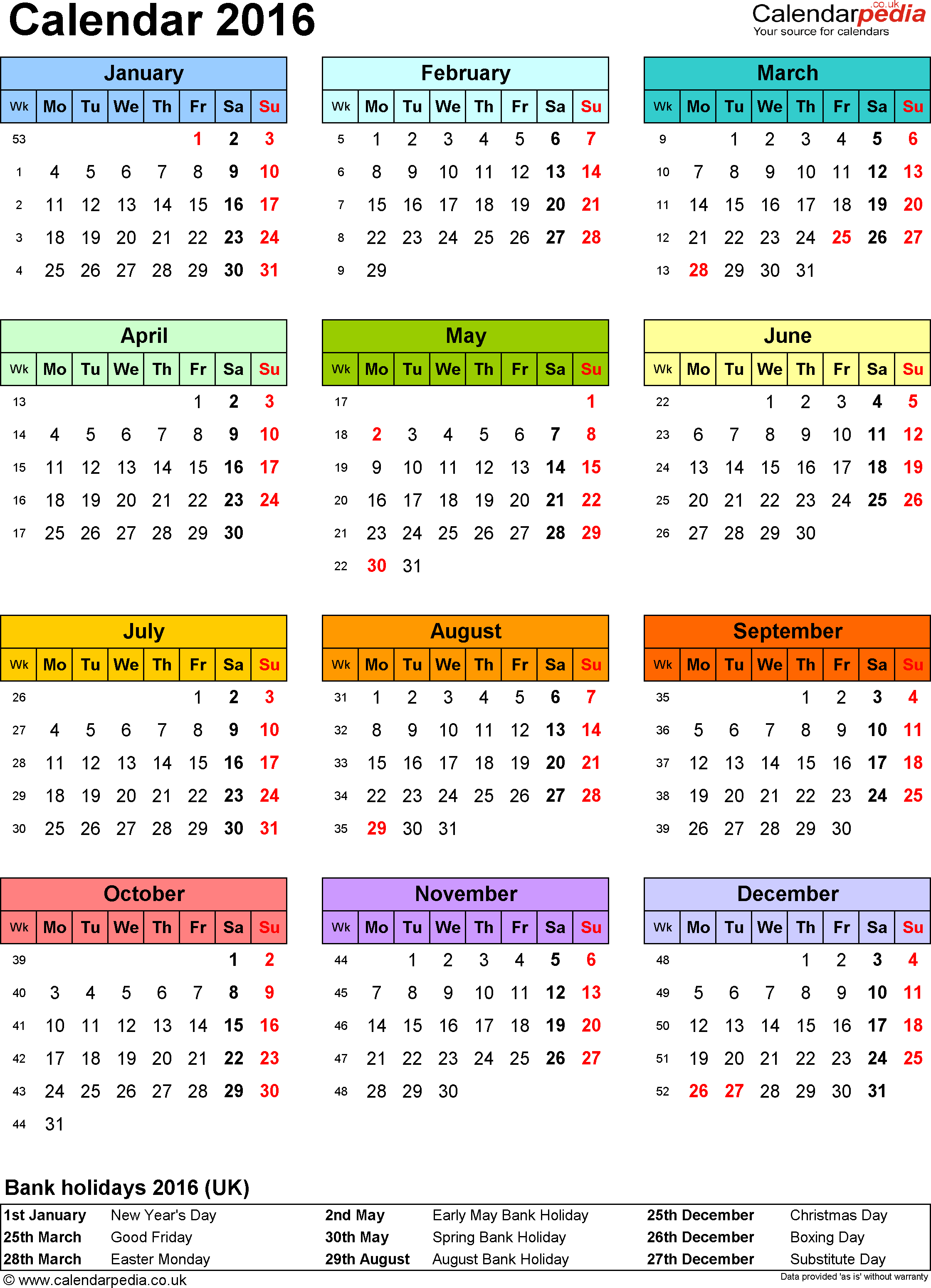 Template 9: Yearly calendar 2016 as PDF template, portrait orientation, year overview in colour, one A4 page