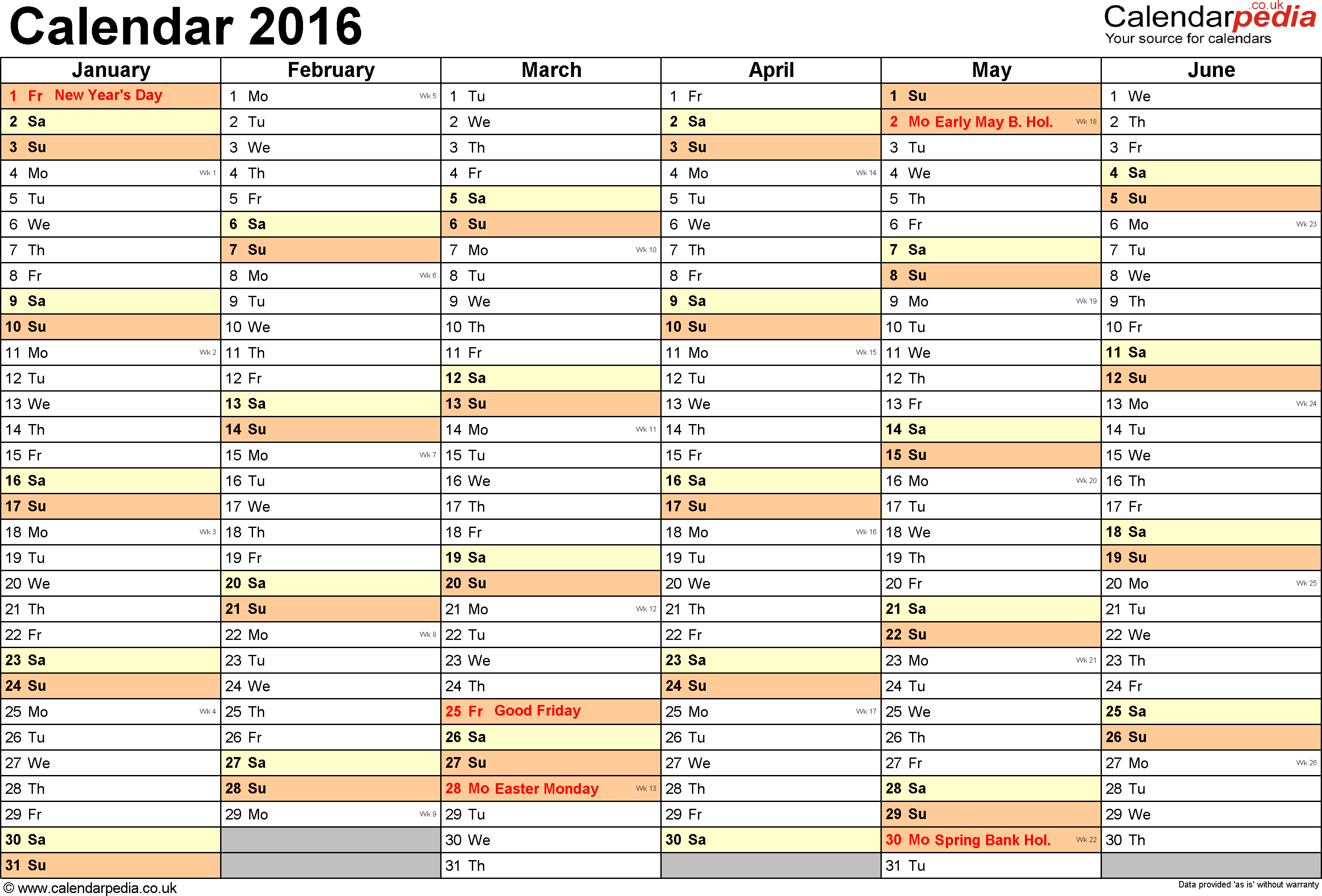 Template 3: Yearly calendar 2016 as Excel template, landscape orientation, 2 pages, months horizontally, days vertically, with UK bank holidays and week numbers