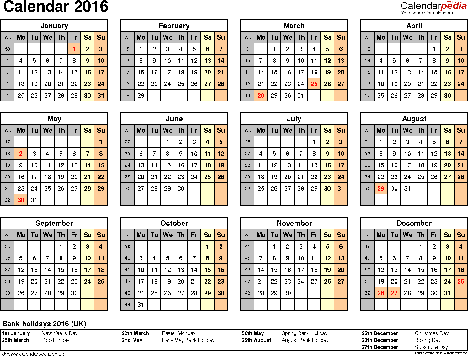 Template 8: Yearly calendar 2016 as PDF template, year overview, 1 page