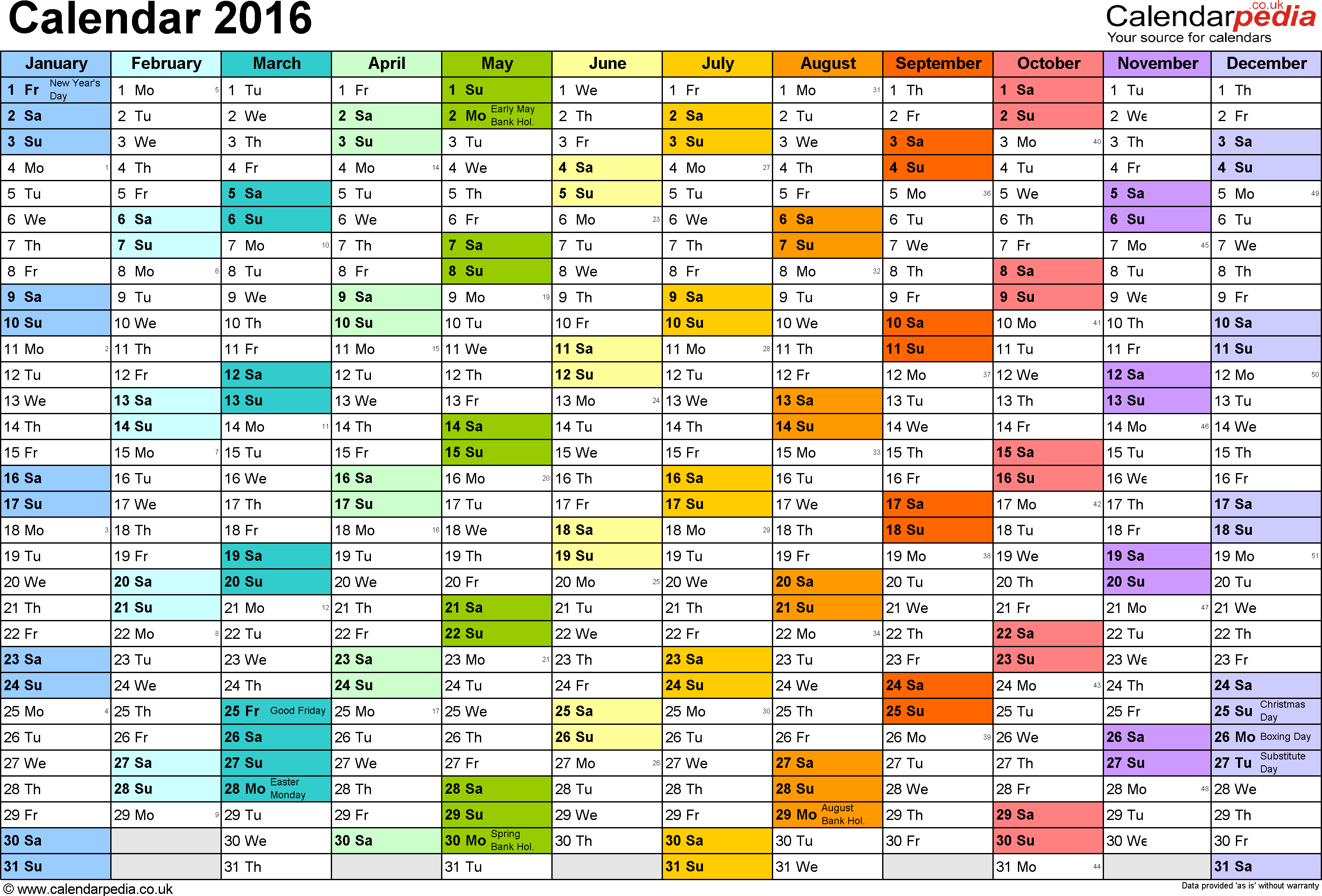 Template 1: Yearly calendar 2016 as Excel template, landscape orientation, A4, 1 page, months horizontally, days vertically, in colour, with UK bank holidays and week numbers