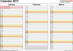 Template 5: Yearly calendar 2017 as Excel template, landscape orientation, 4 pages, months horizontally, days vertically, with UK bank holidays and week numbers