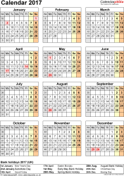Template 10: Yearly calendar 2017 as PDF template, year overview, one A4 page
