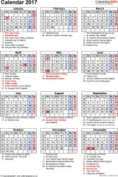 Template 16: Yearly calendar 2017 as PDF template, portrait orientation, 1 page, with UK bank holidays, observances, festivals and celebrations