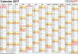 Template 2: Yearly calendar 2017 as Excel template, landscape orientation, A4, 1 page, months horizontally, days vertically, with UK bank holidays and week numbers