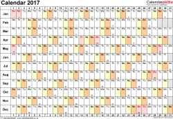 Template 6: Yearly calendar 2017 as Excel template, landscape orientation, 1 page, linear (days horizontally, months vertically), with UK bank holidays and week numbers